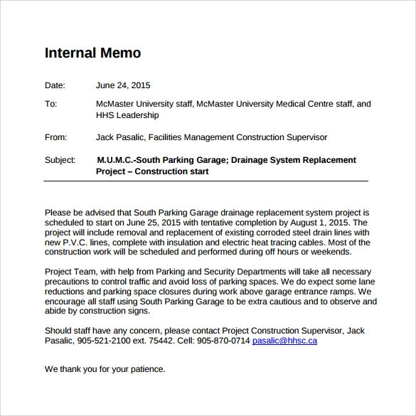 writing an internal memo Writing an effective memo report to: often such reports target an internal audience, for which memo conventions are when writing a progress report.