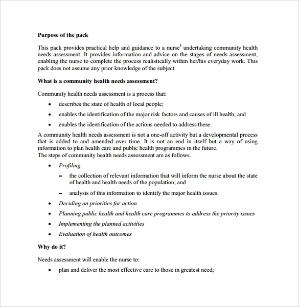 Needs Assessment 8 Free Download for PDF Word – Sample Needs Assessment