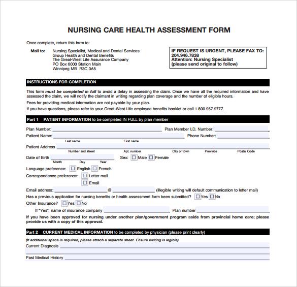 nursing health care assessment