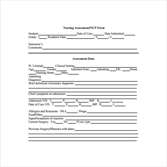 nursing assessment to print