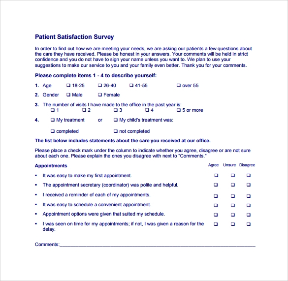 patient satisfaction survey to download