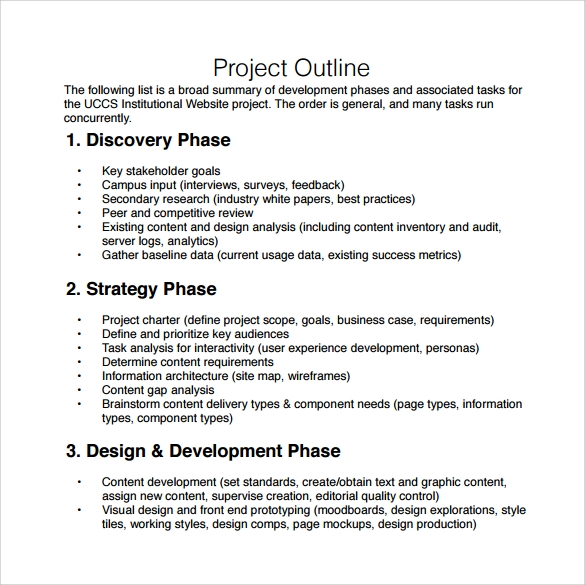 Project Outline Template   Download Free Documents In Pdf Word