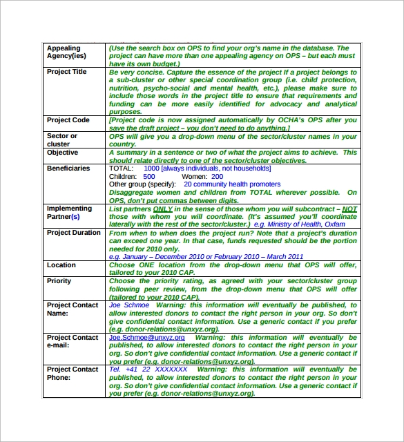 Project Sheet Template   Download Free Documents In