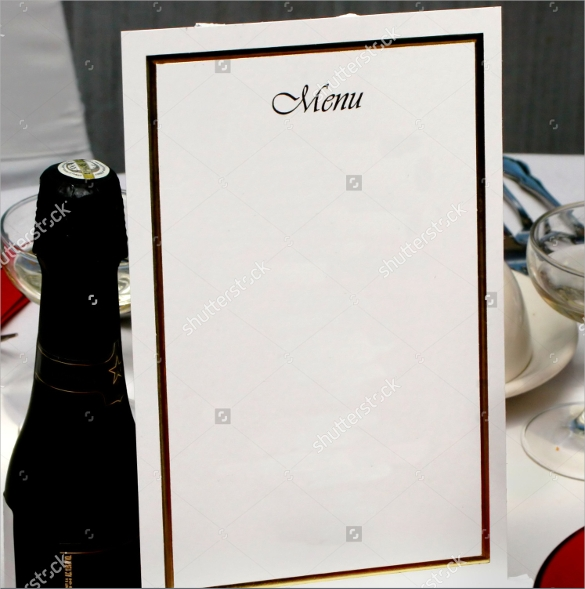 blank menu design template