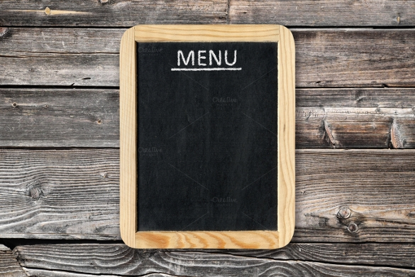 blank menu on wooden wall