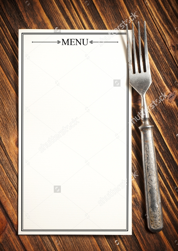 blank menu on the wooden board