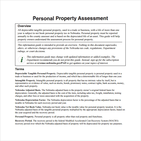 personal property assessment