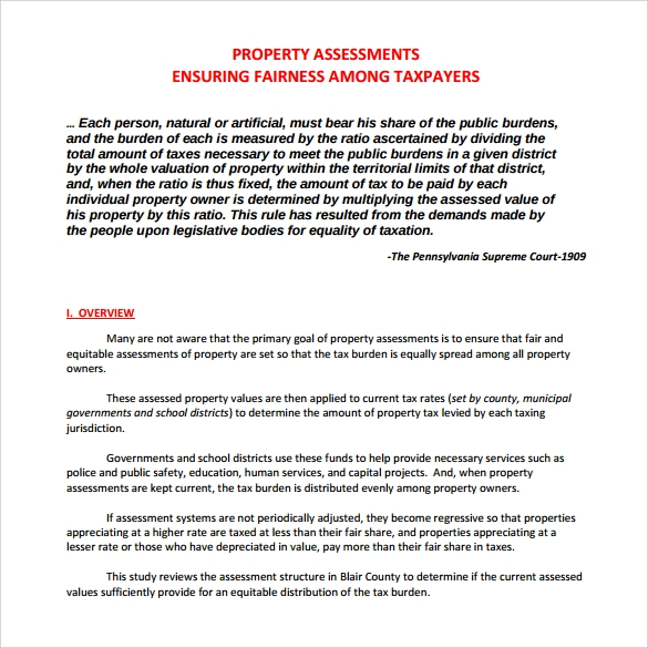property assessment to download