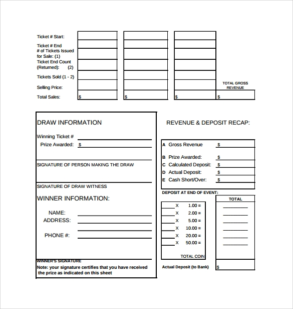 Raffle Sheet Template