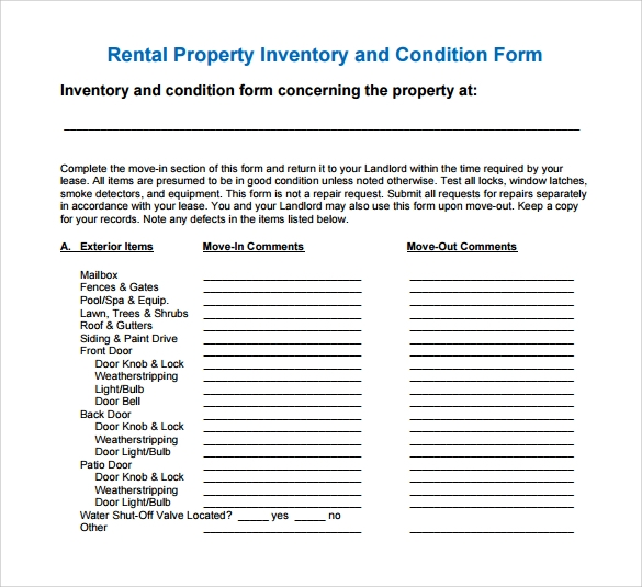 rental inventory condition form template