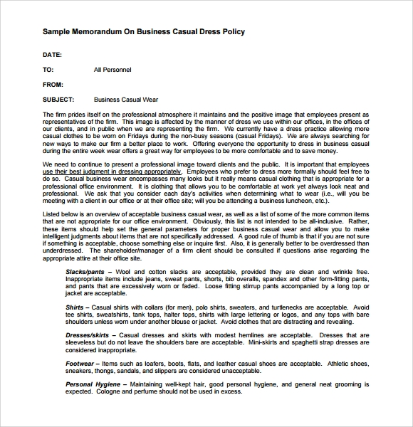 Sample Casual Memo Letter   Documents In Pdf  Word