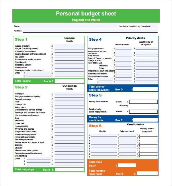 personal sheet