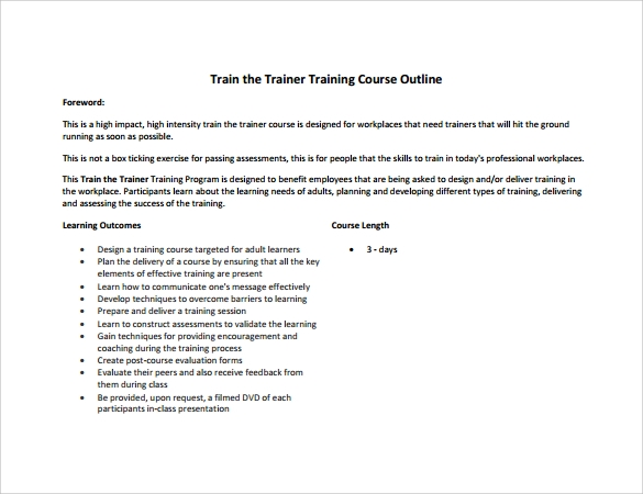 Training Outline Template   Download Free Documents In   Word