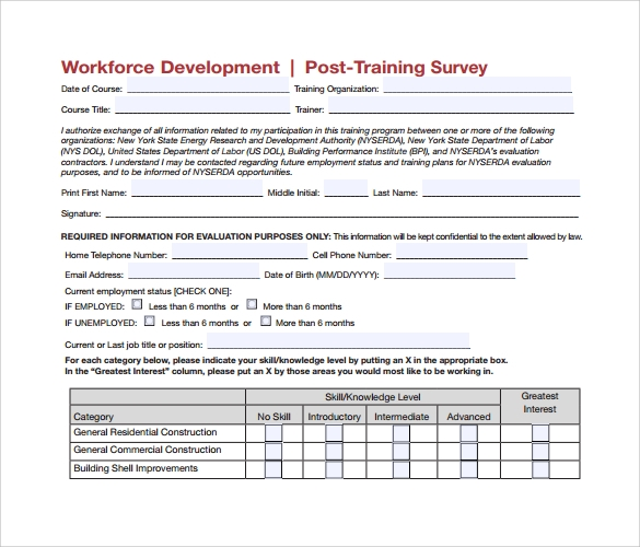 sample post training survey%ef%bb%bf
