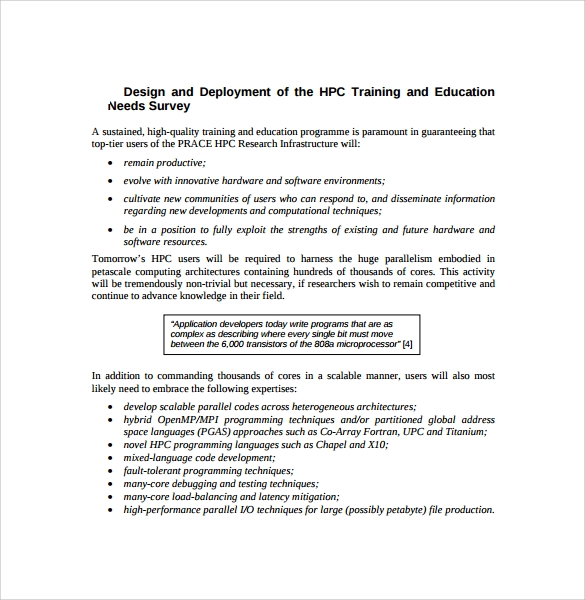 training and education needs survey