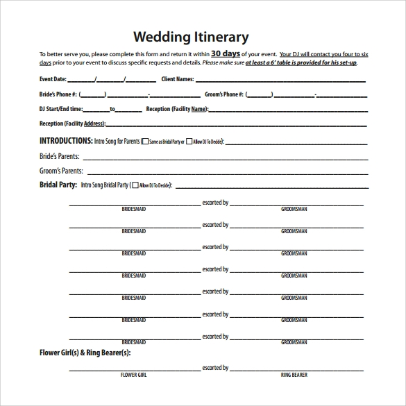 Wedding Itinerary 8 Download Documents In Pdf Psd Excel