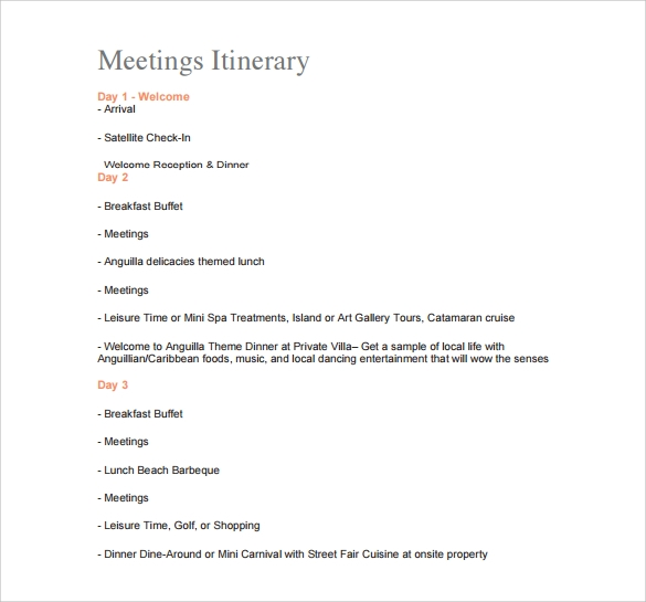 itinerary meeting