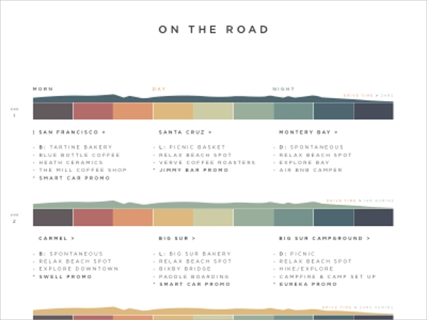 Road Trip Itinerary Template - 6+ Download In Pdf, Psd, Eps Vector
