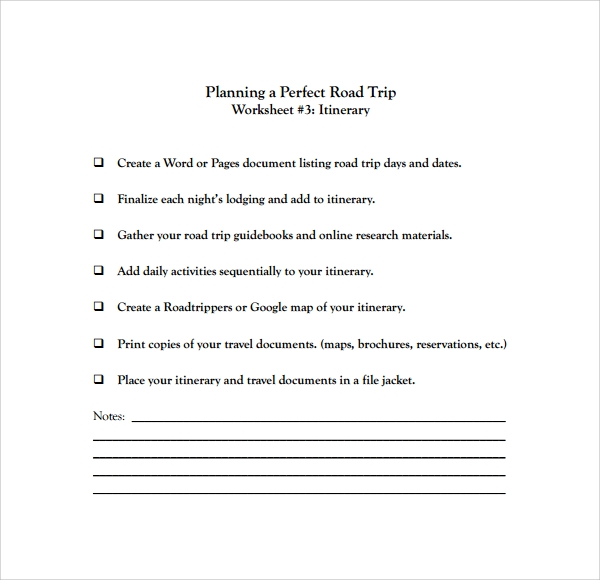 free 6  road trip itinerary templates in pdf