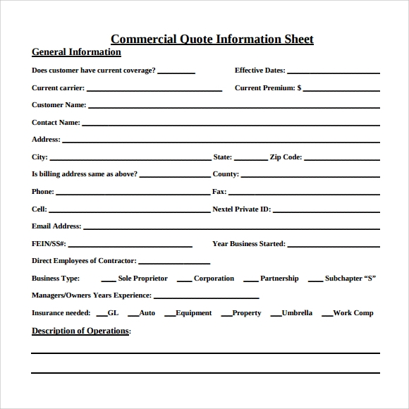 commercial quote information sheet pdf