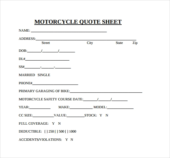 motorcycle quote sheet to print