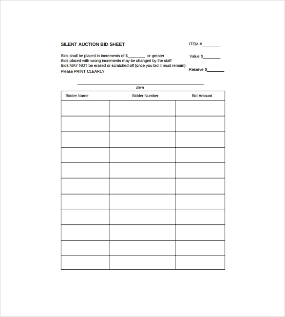 Sample Staff Paper Silent Auction Bid Sheet Template Silent Auction