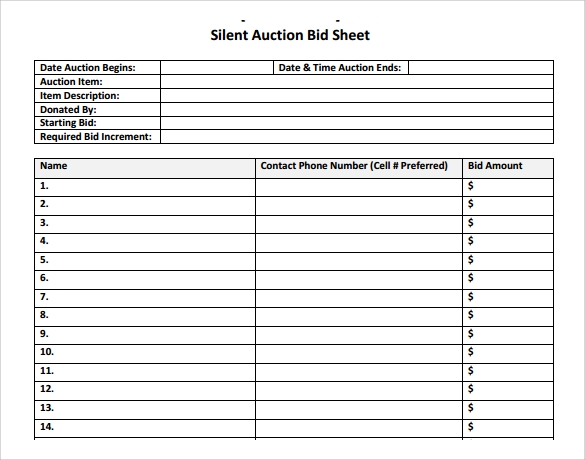 Silent auction bid sheet template 9 download free for Auction bid cards template