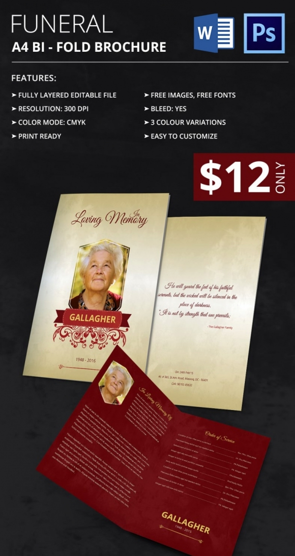 Sample Funeral Programs Templates Sample Templates - Funeral brochure templates free