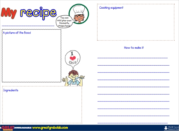 Sample Blank Recipe Template 9 Download Documents In