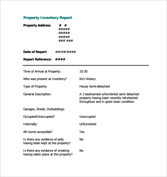 unfurnished property inventory template