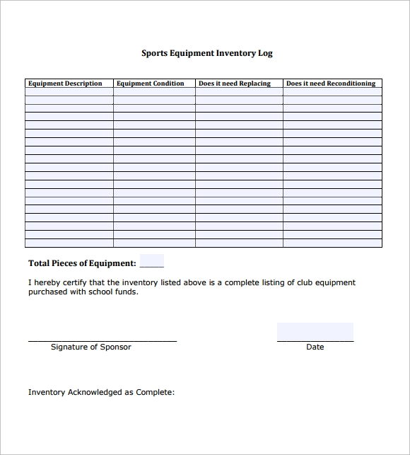 sports equipment inventory template