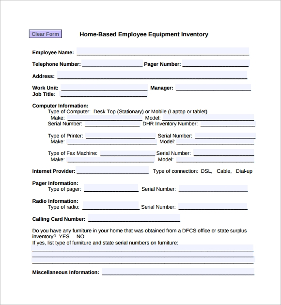 Employee Equipment Inventory Template  Inventory List Form
