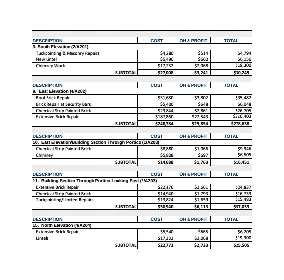 commercial construction budget spreadsheet - Ideal.vistalist.co
