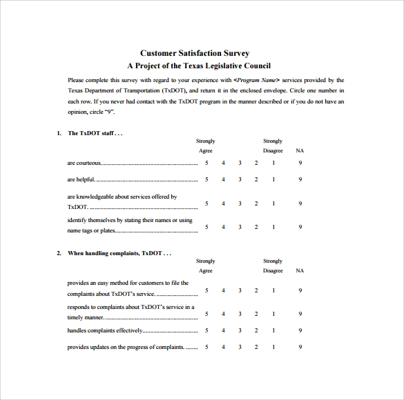 Customer Satisfaction Survey 7 Download Free Documents in PDF Word – Survey Template in Word