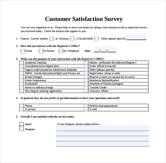 Customer Satisfaction Survey 7 Download Free Documents in PDF Word – Sample Customer Satisfaction Survey