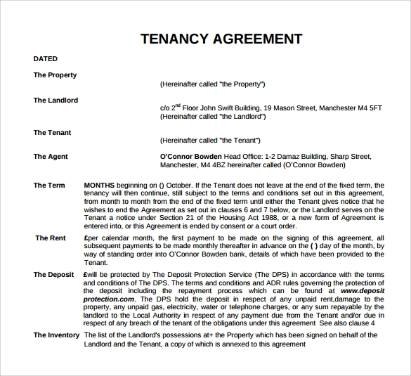 8 sample tenancy inventory templates to download sample for Letting agreement template free