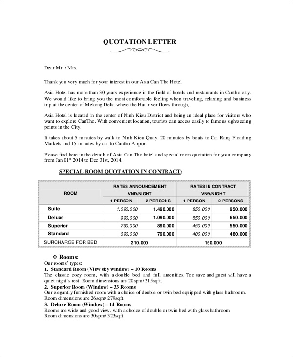 Quotation Template 19 Documents in PDF Word Excel – Business Quotation Sample