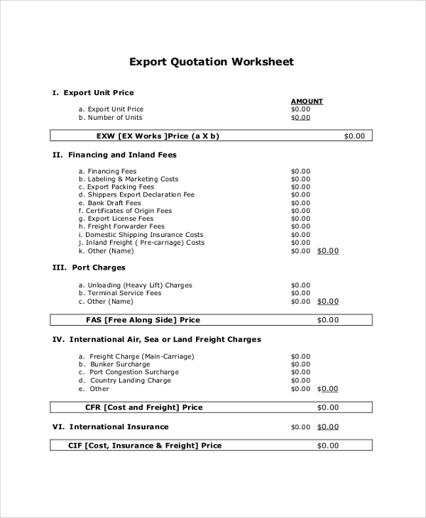 Quotation Template - 44+ Documents in PDF, Word, Excel