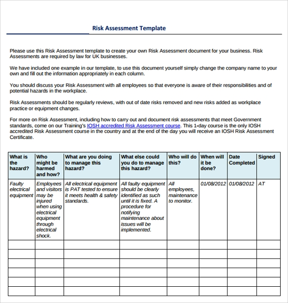 Sample It Risk Assessment Template   Free Documents In