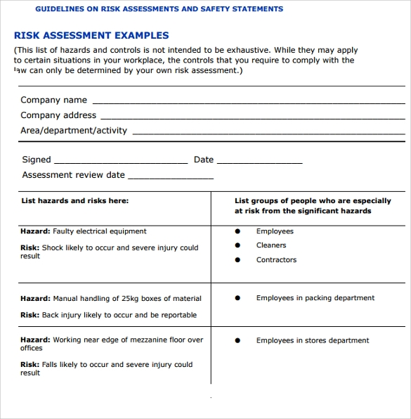 Sample It Risk Assessment Template   12+ Free Documents In Pdf
