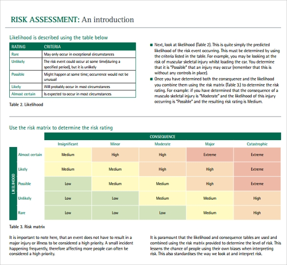 Sample IT Risk Assessment Template