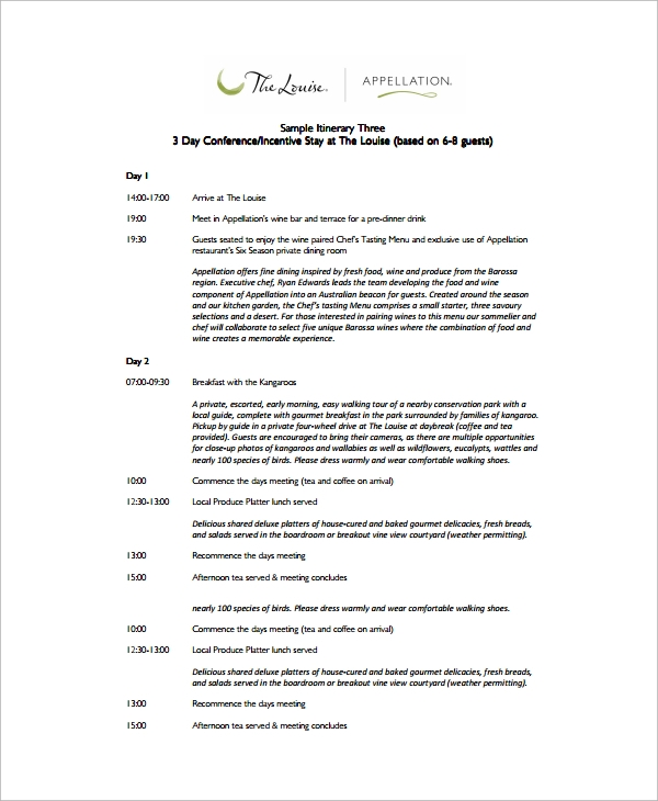 sample event itinerary template 9 dcouments download in pdf word