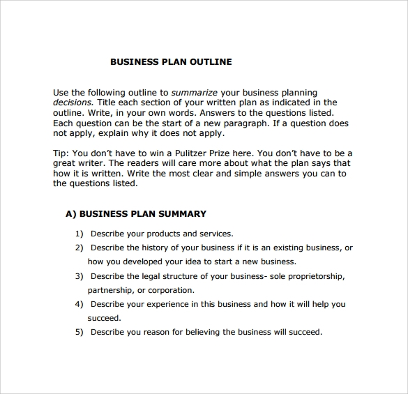 Outline Of A Business Plan Outline Of A Business Plan - Business plan format template