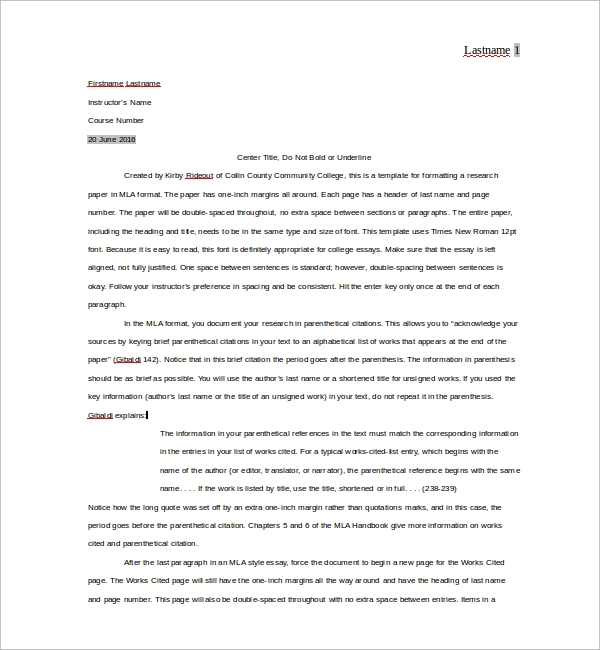 mla writing format template