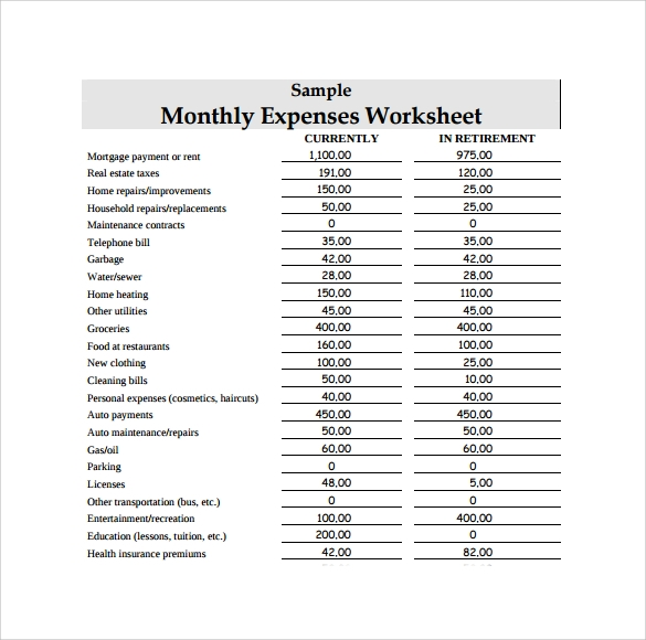 monthly expense worksheet