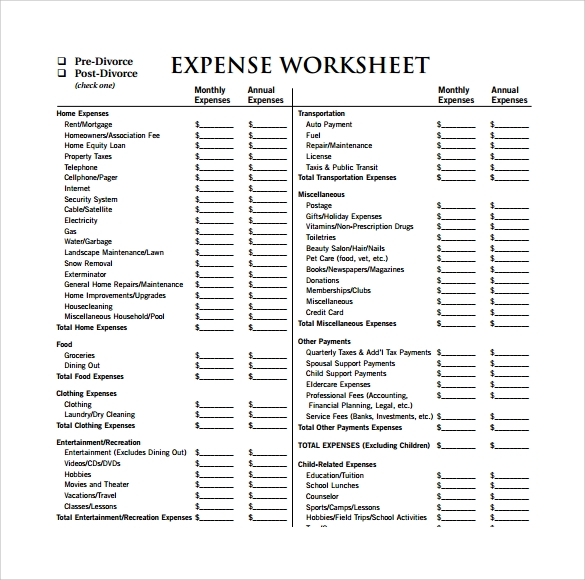 Expense sheet template 13 download free documents for pdf expense worksheet template ibookread PDF