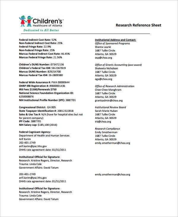 Job Reference Sheet Format
