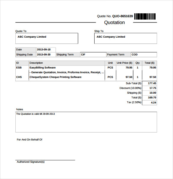 Sample Quotation Doc  BesikEightyCo