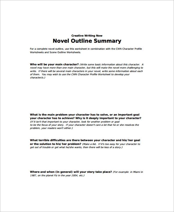 Novel Story Outline Template