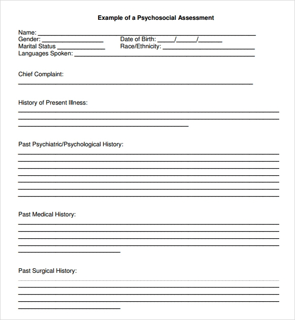 Sample Psychosocial Assessment 8 Documents in Word PDF – Psychosocial Assessment Form